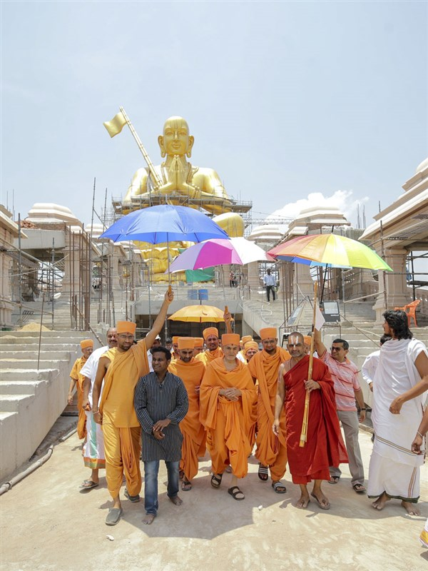 Swamishri with Chinna Jeeyar Swamiji during his visit to the Statue of Equality Project