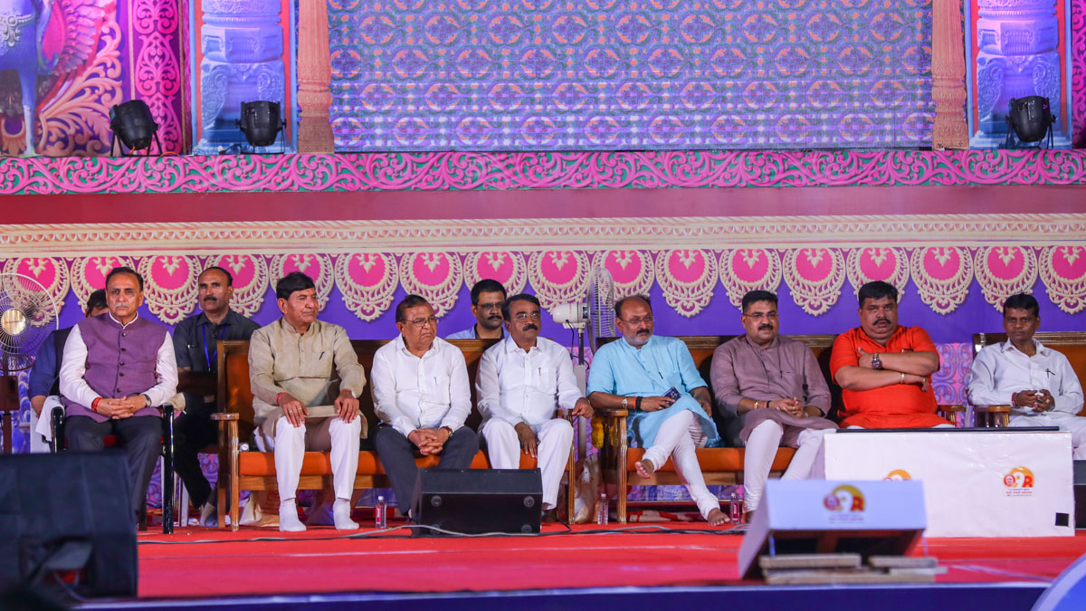 Invited guests on stage during the assembly