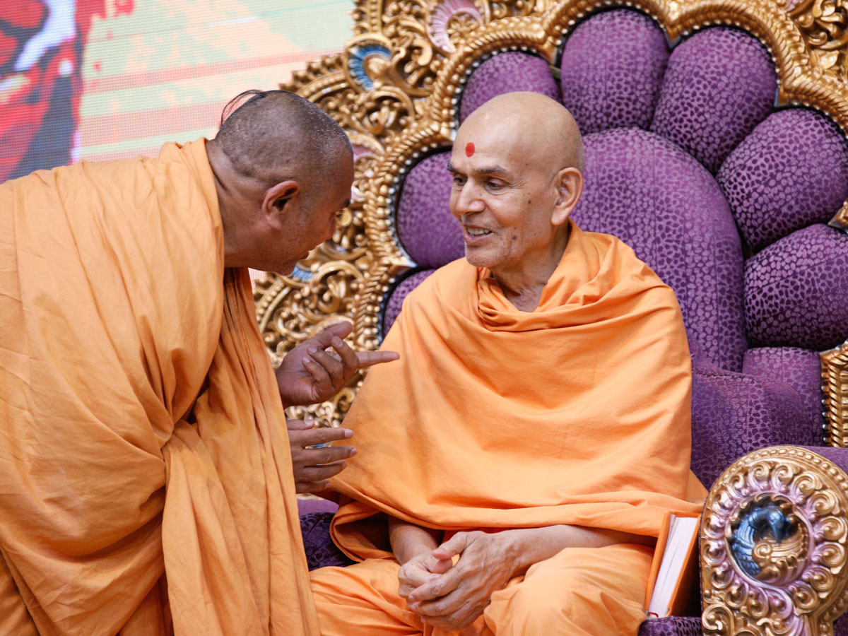 A sadhu converses with Swamishri