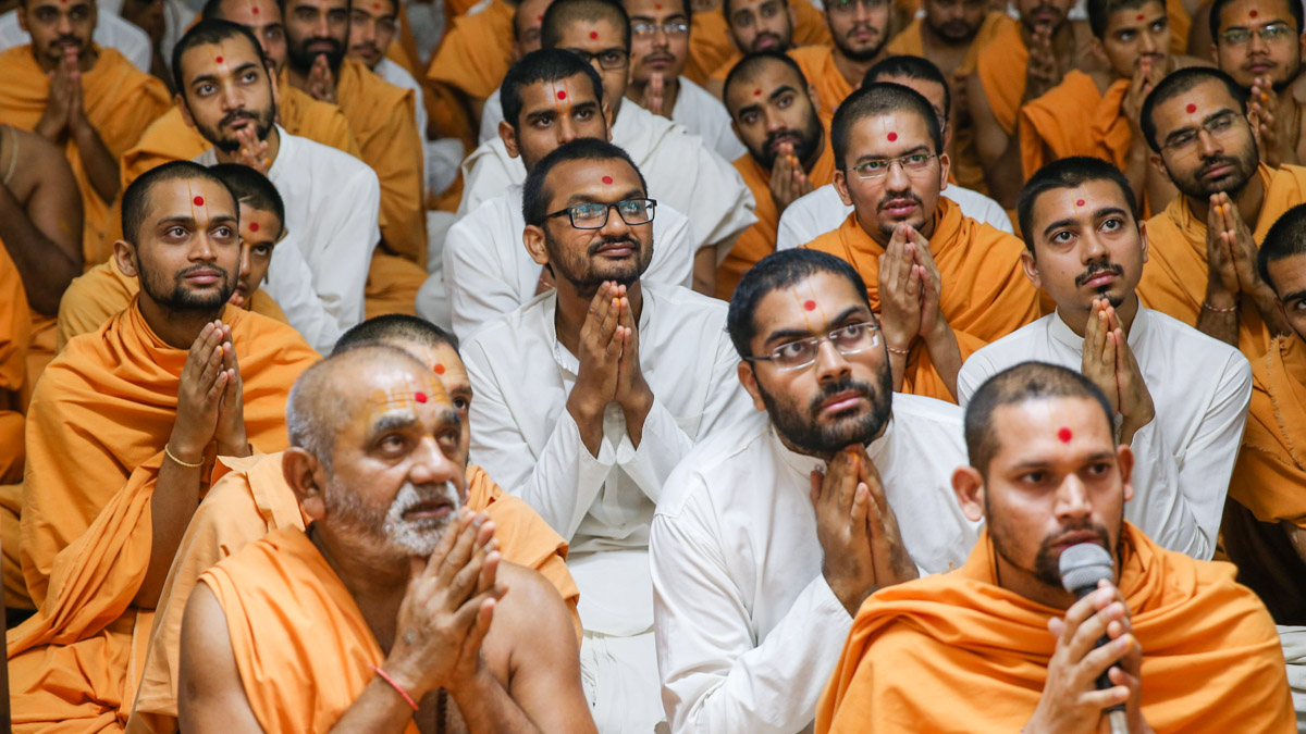 Sadhus and sadhaks doing arti darshan