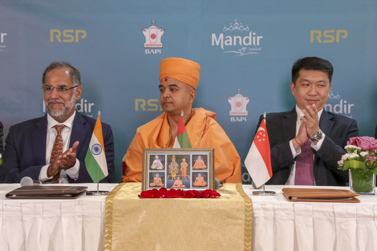 Brahmavihari Swami with both Ambassadors