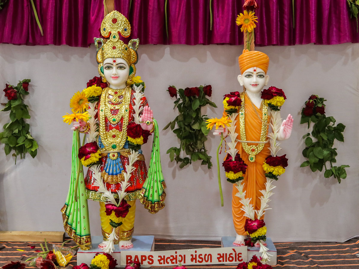 Murtis consecrated for the new BAPS Shri Swaminarayan Mandir in Sathod, India