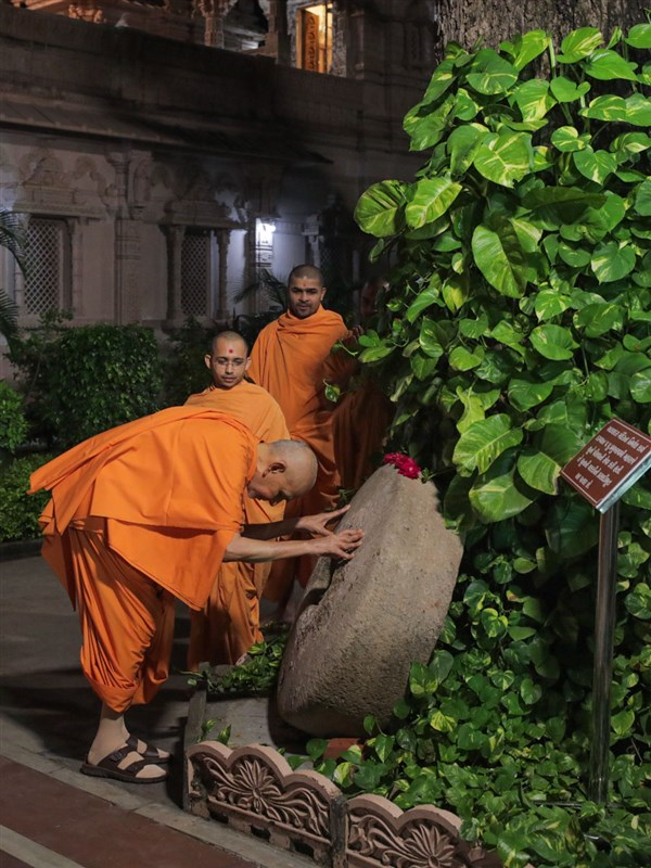 Swamishri reverentially touches a sacred stone once used to crush lime for the construction of Atladra Mandir in the time of Shastriji Maharaj