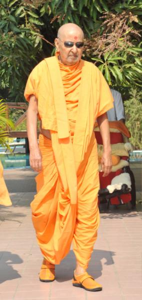 Swamishri on his daily walk
