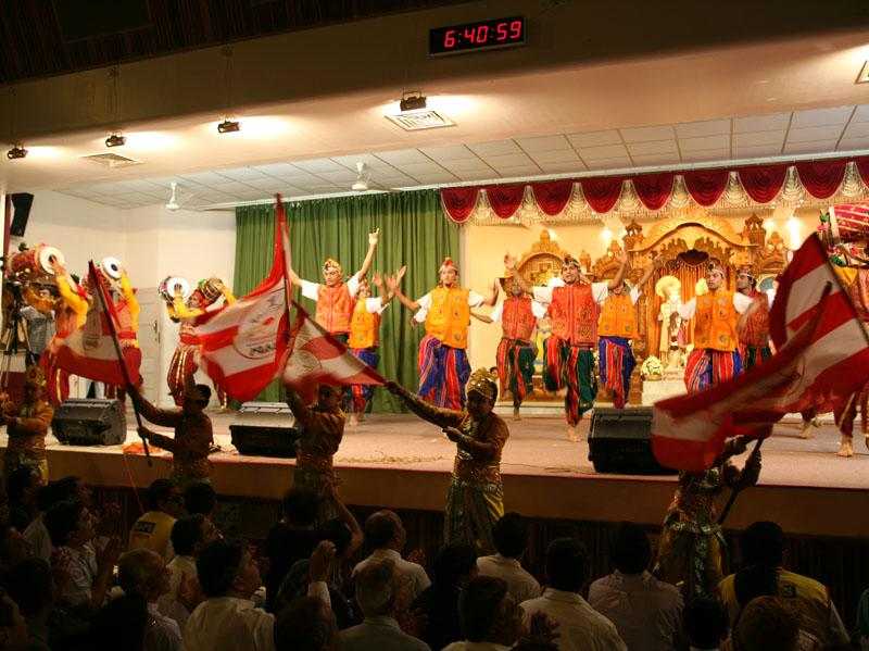 Youths perform a traditional dance during Sunday satsang assembly