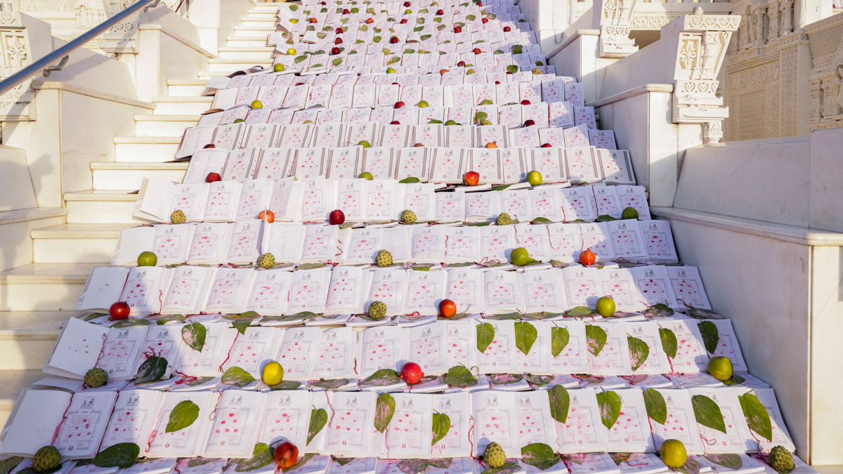 Account books laid out for Chopda Pujan