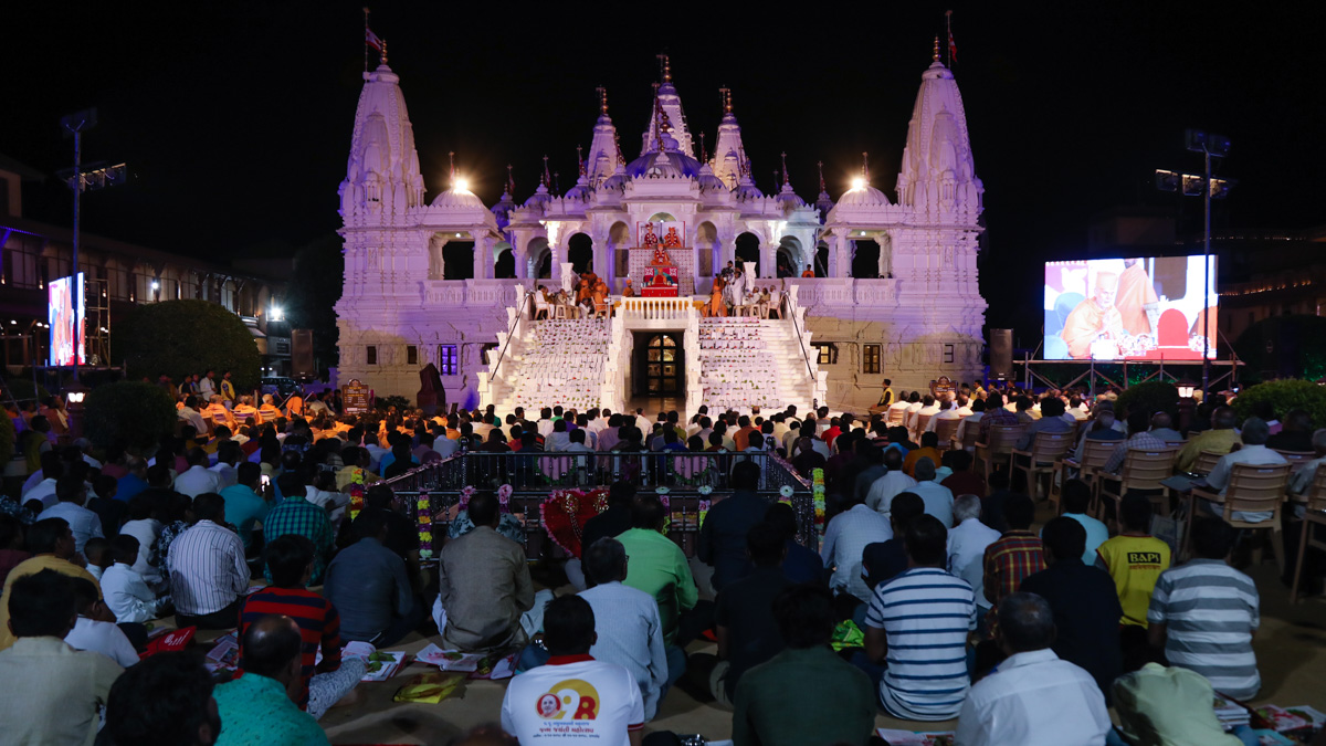 Devotees during mahapuja rituals