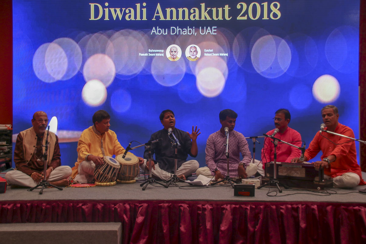 Devotees of the Swami Samarth group sing bhajans
