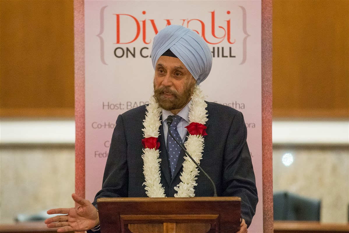 Indian Ambassador to the United States Navtej Sarna addresses the assembly