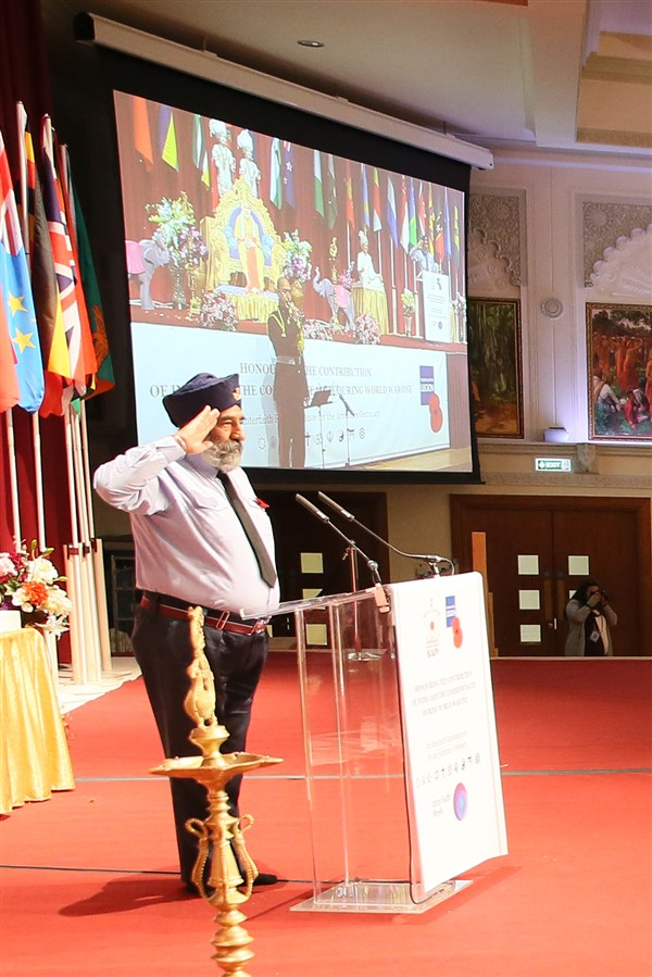 The exhortation for 'The Last Post' was led by Warrant Officer Balbir Singh Flora MBE