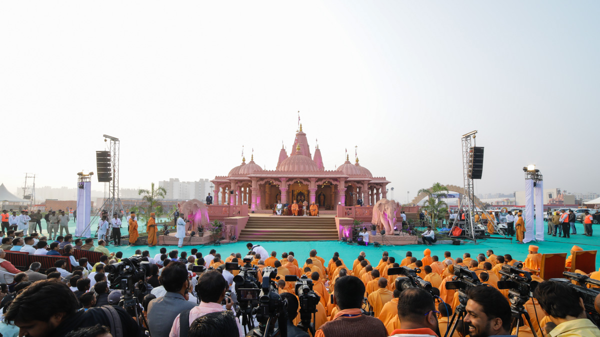 Sadhus and devotees during the nagar opening assembly