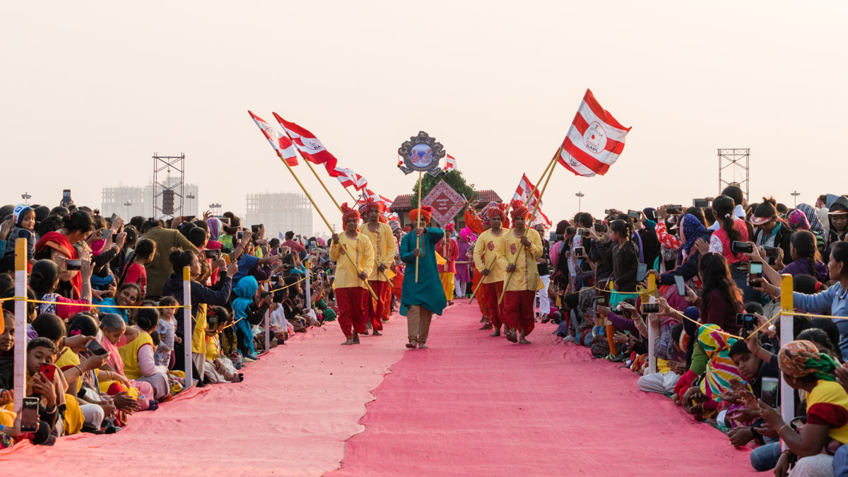 Children and youths present a parade in honor of the Vachanamrut Bicentenary Celebrations