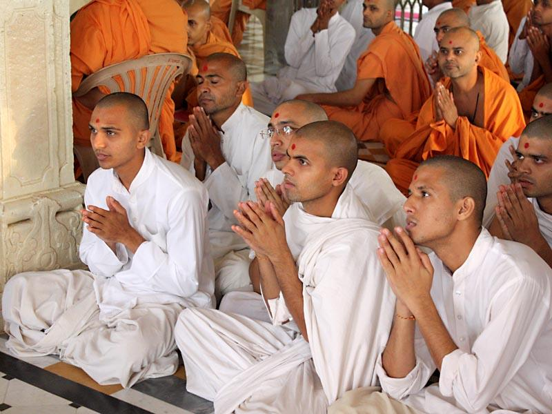 Sadhus, parshads and sadhaks engaged in Swamishri's darshan