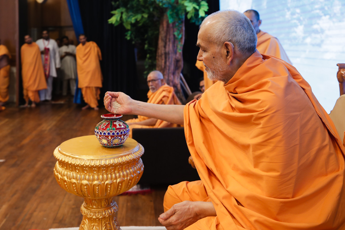 Swamishri sanctifies rice grains