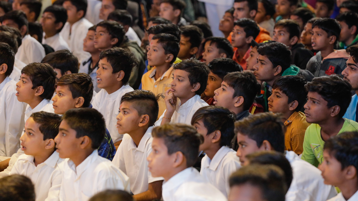 Children during the assembly