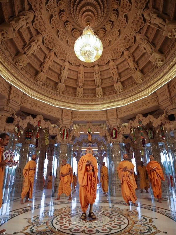 Swamishri observes main dome carvings
