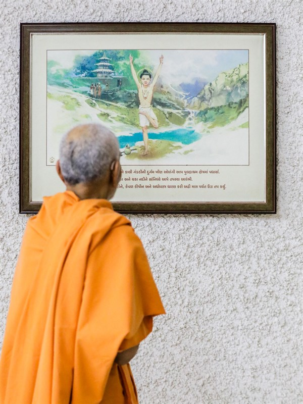 Swamishri observes a painting of Shri Nilkanth Varni in the abhishek mandapam