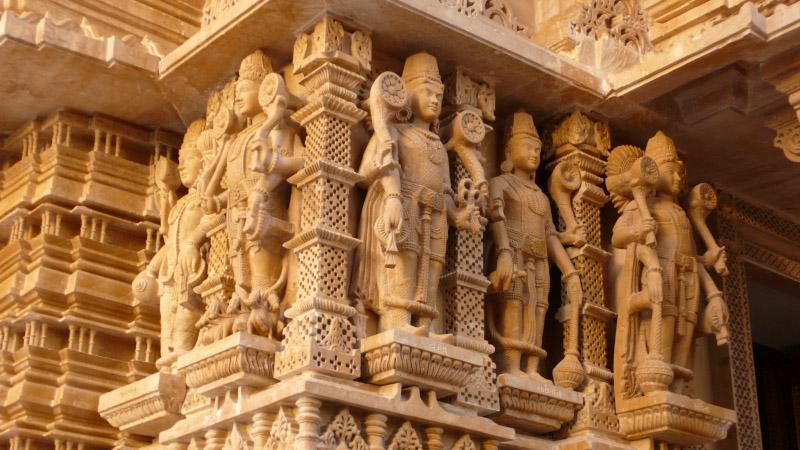 Intricately carved exterior of mandir