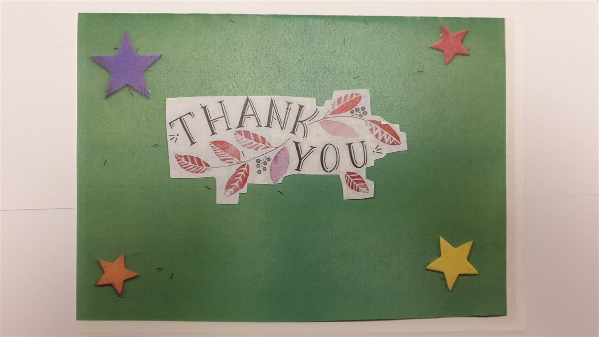 Appreciation card from a child impacted by the support of BAPS Luton