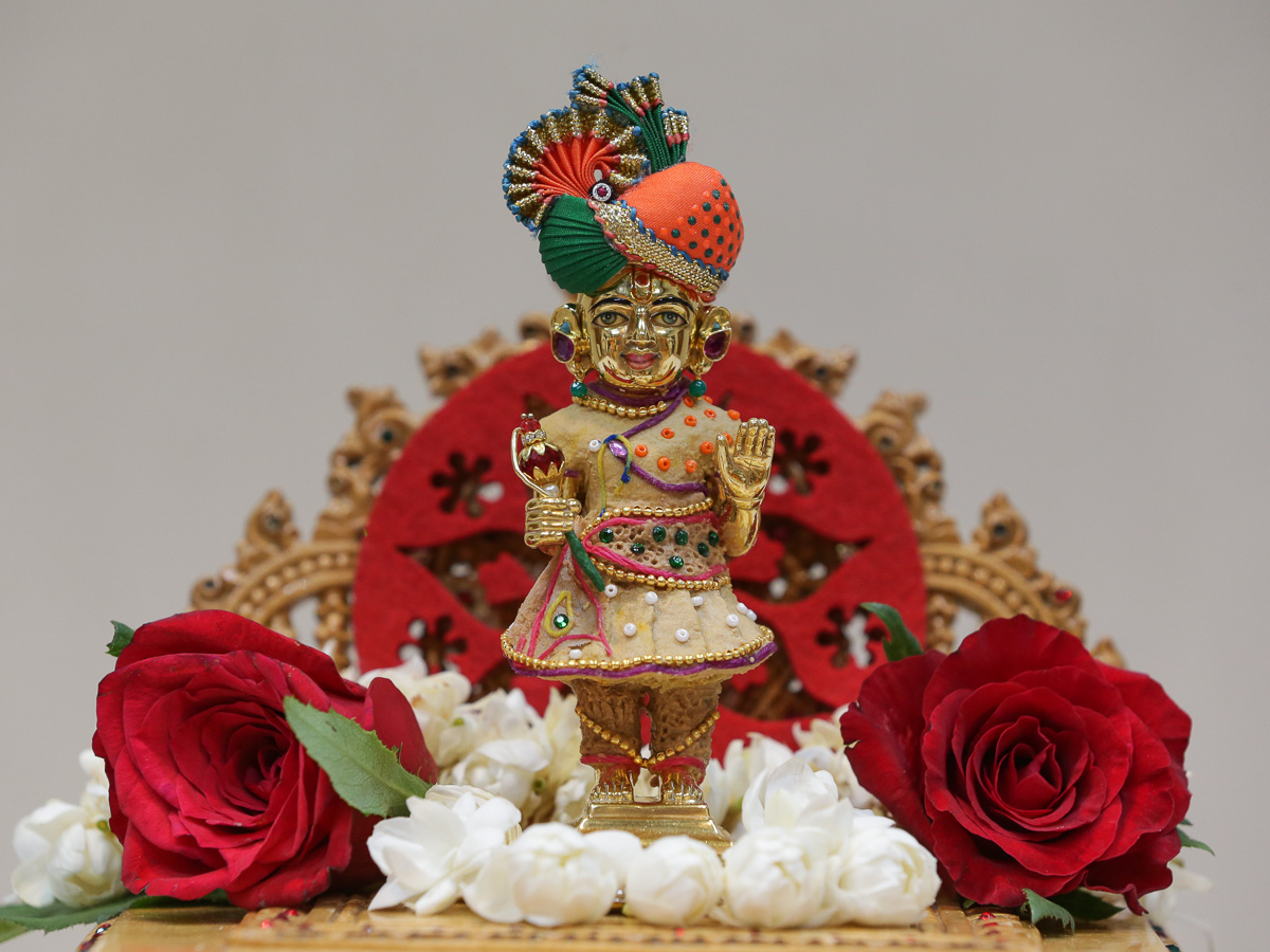 Shri Harikrishna Maharaj adorned in chandan garments