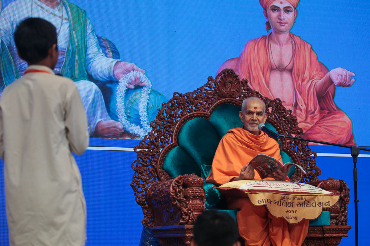 Swamishri during the Bal Shibir<br><a href='https://www.baps.org/Photos/2019/Shibir-Day-1-19718.aspx?mid=160216?mid=160216' target='blank' style='text-decoration:underline; color:blue;'>more photos</a>