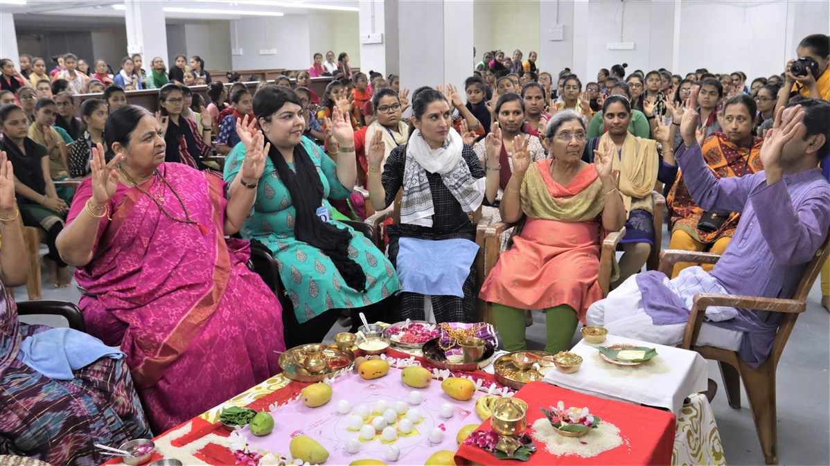 Mahapuja rituals being performed.