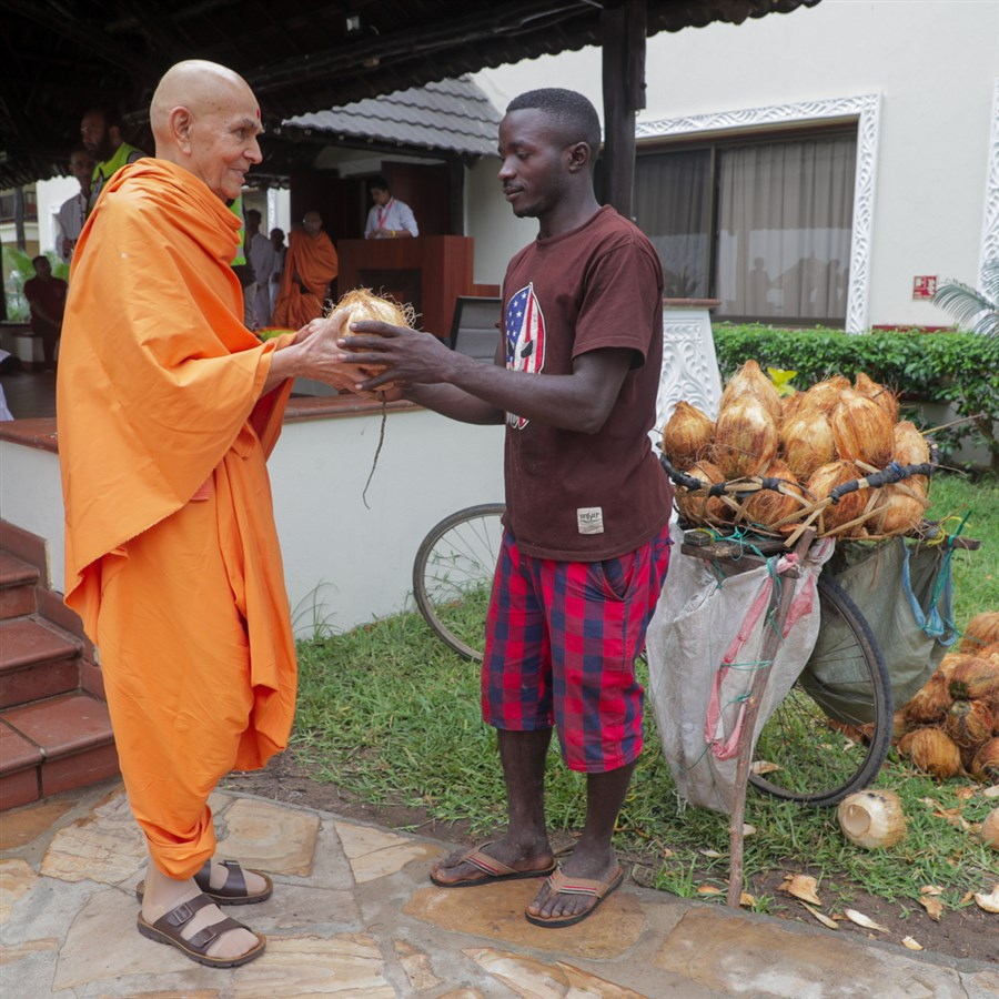 Swamishri selects a coconut