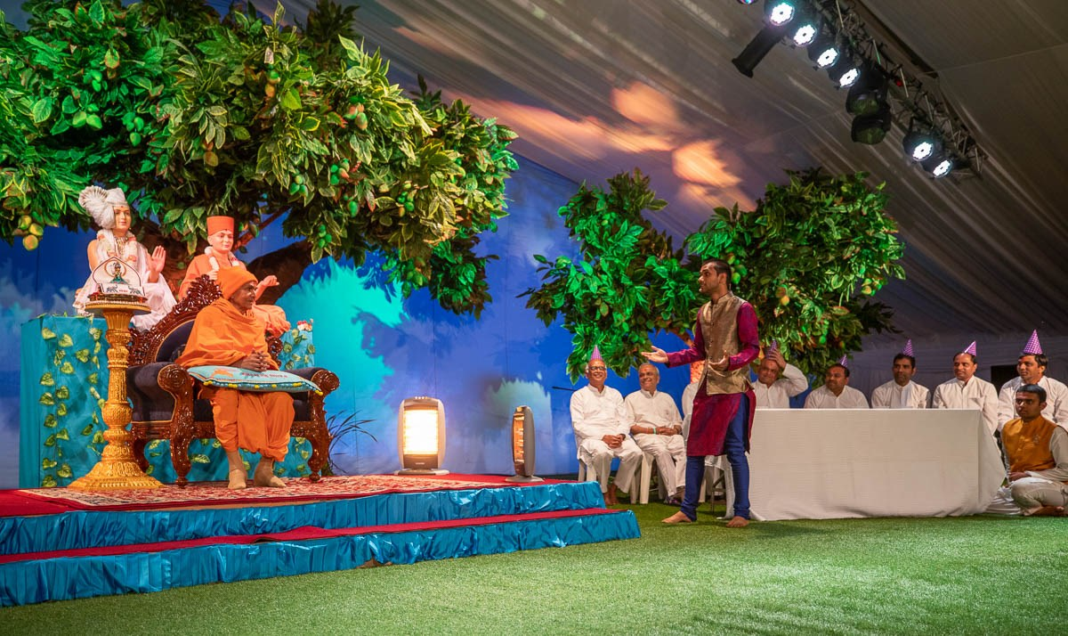 A presentation by devotees