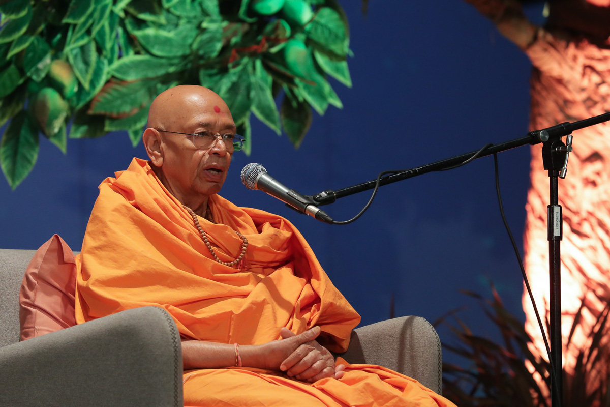 Pujya Tyagvallabh Swami addresses the evening satsang assembly