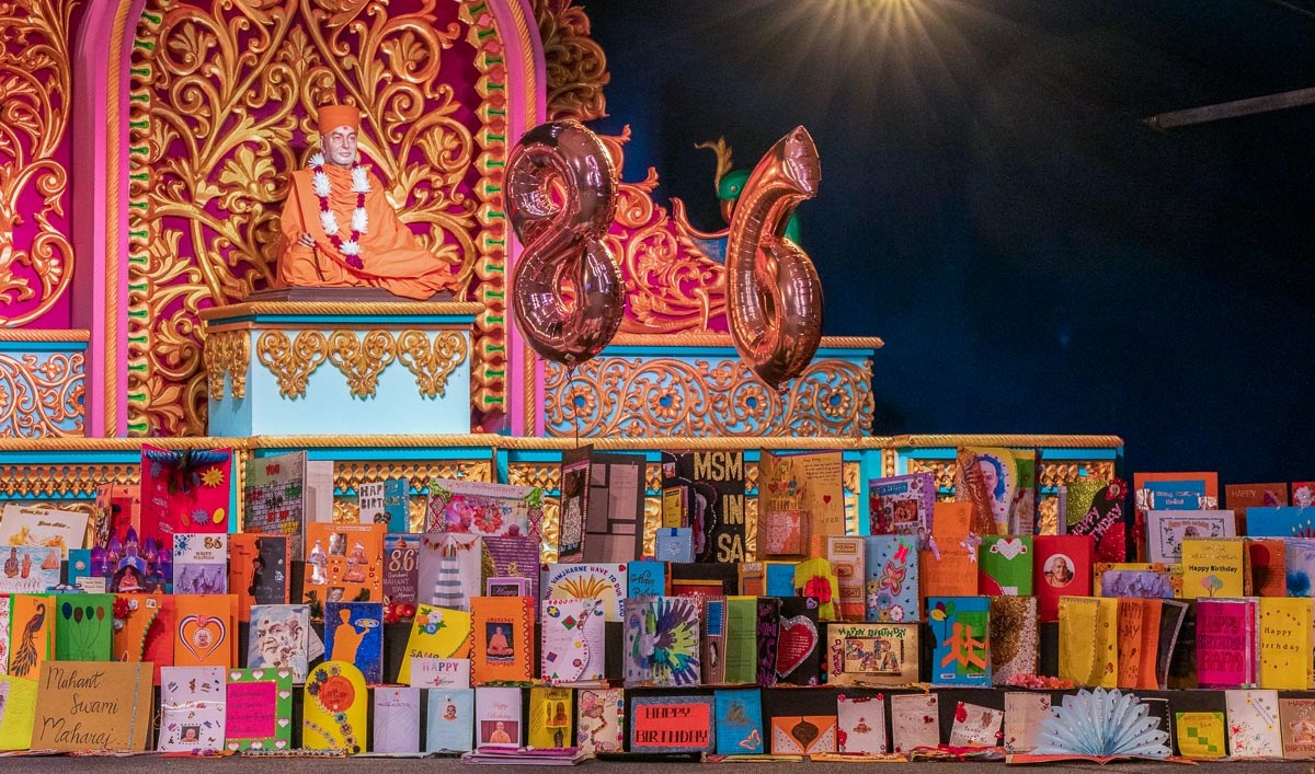 Greeting cards on the stage made by devotees