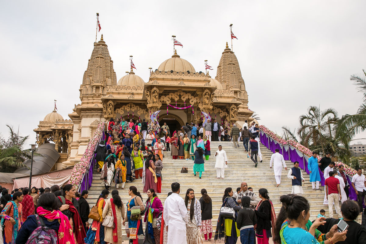 Devotees in the mandir grounds