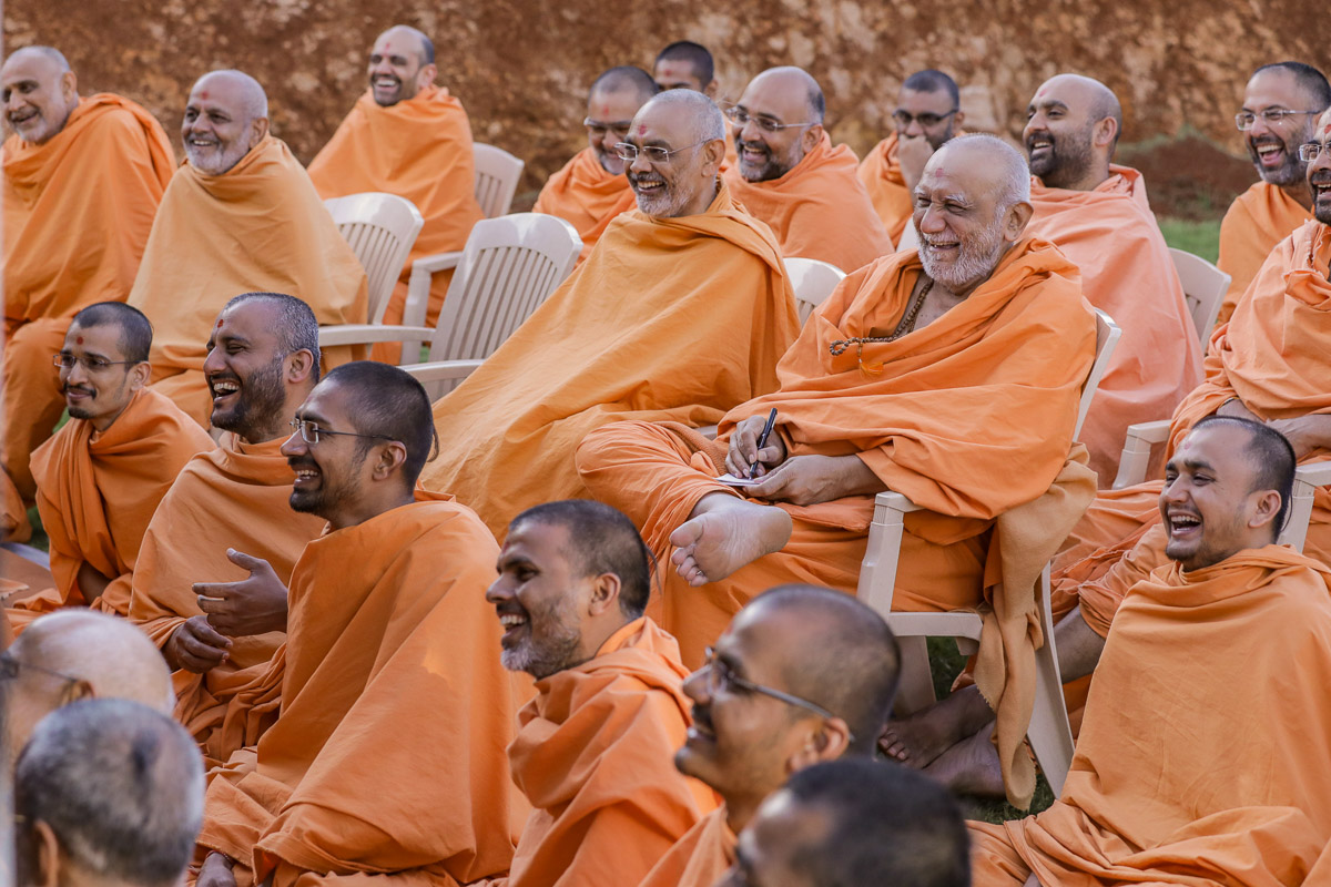 Sadhus share a light moment with Swamishri