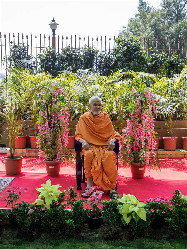 Swamishri in the grounds of Shanti Van