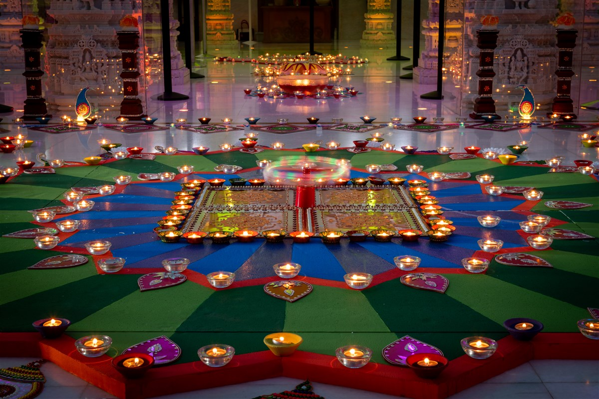 A thematic decoration is displayed in the mandir