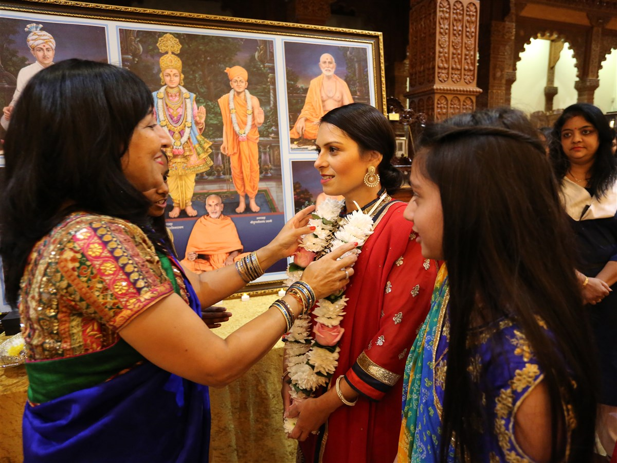 The Rt Hon. Priti Patel MP, Home Secretary for the United Kingdom, was greeted in a traditional Hindu manner upon arrival at the Mandir