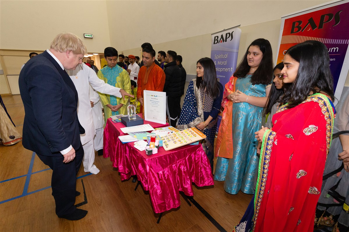 The Prime Minister learned about some of the award-winning children's and youth activities at the Mandir