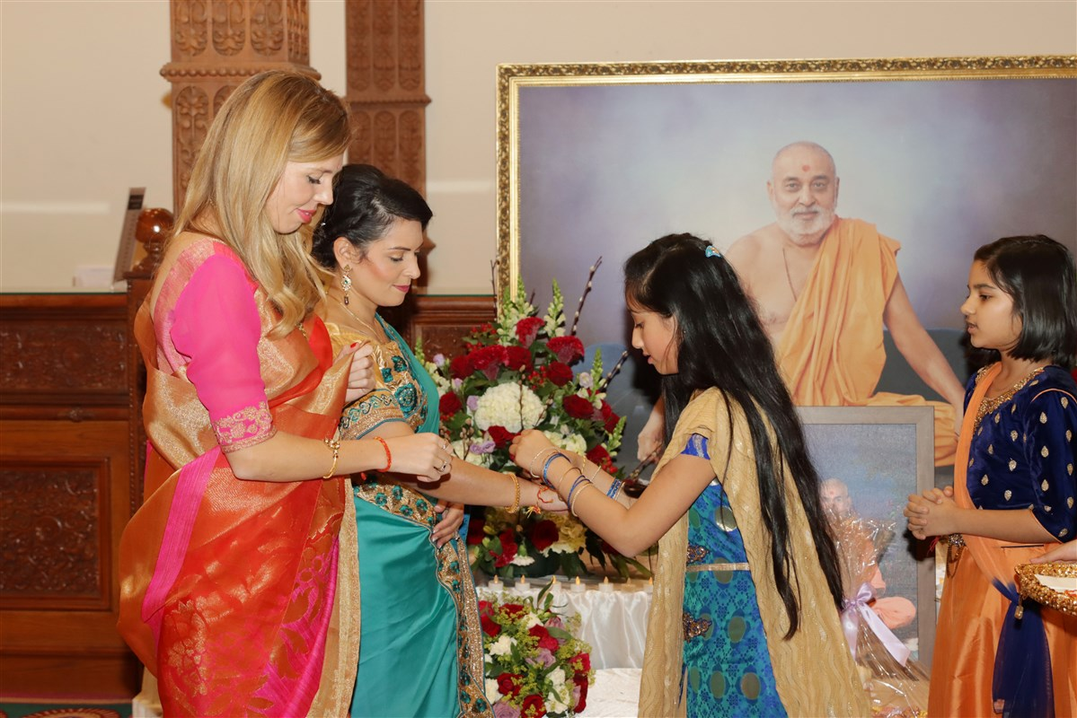 British Home Secretary Priti Patel and the Prime Minister's partner, Carrie Symonds, were also warmly welcomed to the Mandir