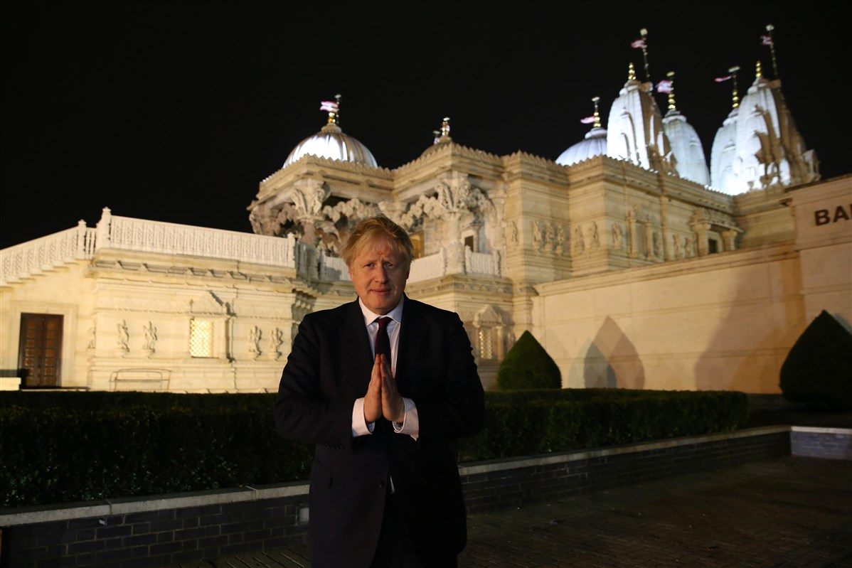 British Prime Minister Boris Johnson at BAPS Shri Swaminarayan Mandir, London, UK