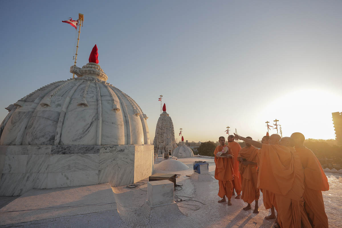 Swamishri observes dome carvings