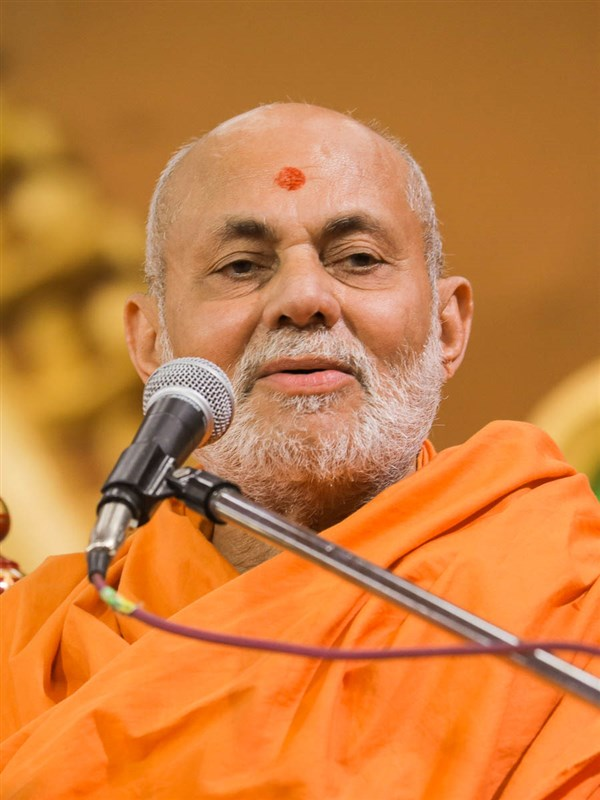 Pujya Viveksagar Swami addresses the evening satsang assembly