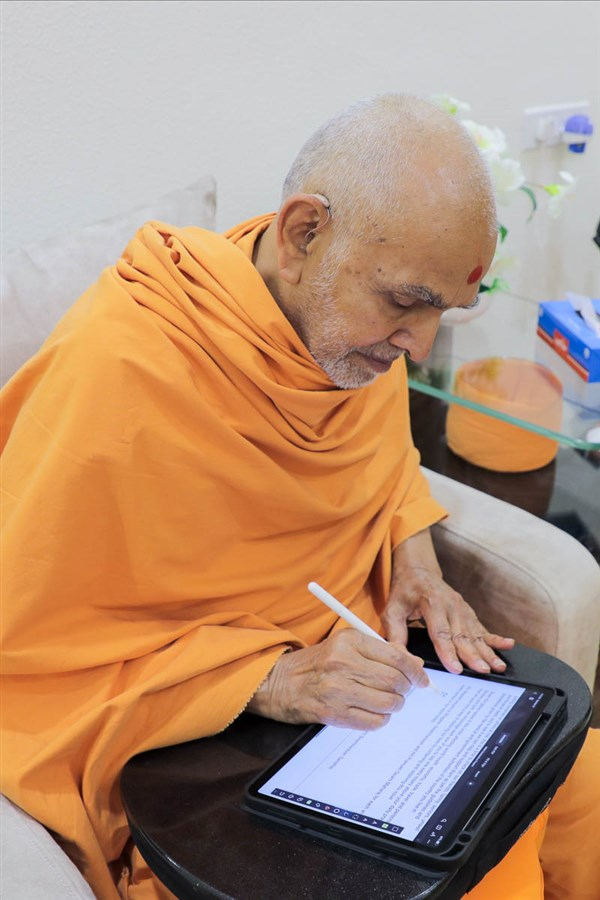 "Swamishri writes a message of appreciation and prayer<br><a href=""https://www.baps.org/News/2020/Prayers-by-HH-Mahant-Swami-Maharaj-18590.aspx"" target=""blank"" style=""text-decoration:underline; color:blue;"">Prayers</a>"