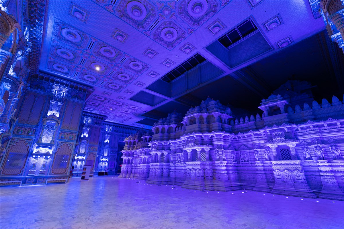 BAPS Shri Swaminarayan Mandir, Robbinsville, NJ lit up in blue to show support, solidarity in face of COVID-19 pandemic to doctors, nurses, paramedics, public safety officers, and other frontline workers.