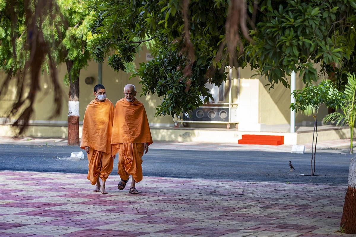 Swamishri on his way for darshan at the mandir in Shantivan