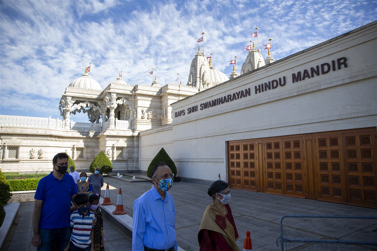 A special route had been cordoned for devotees to follow as they entered the mandir