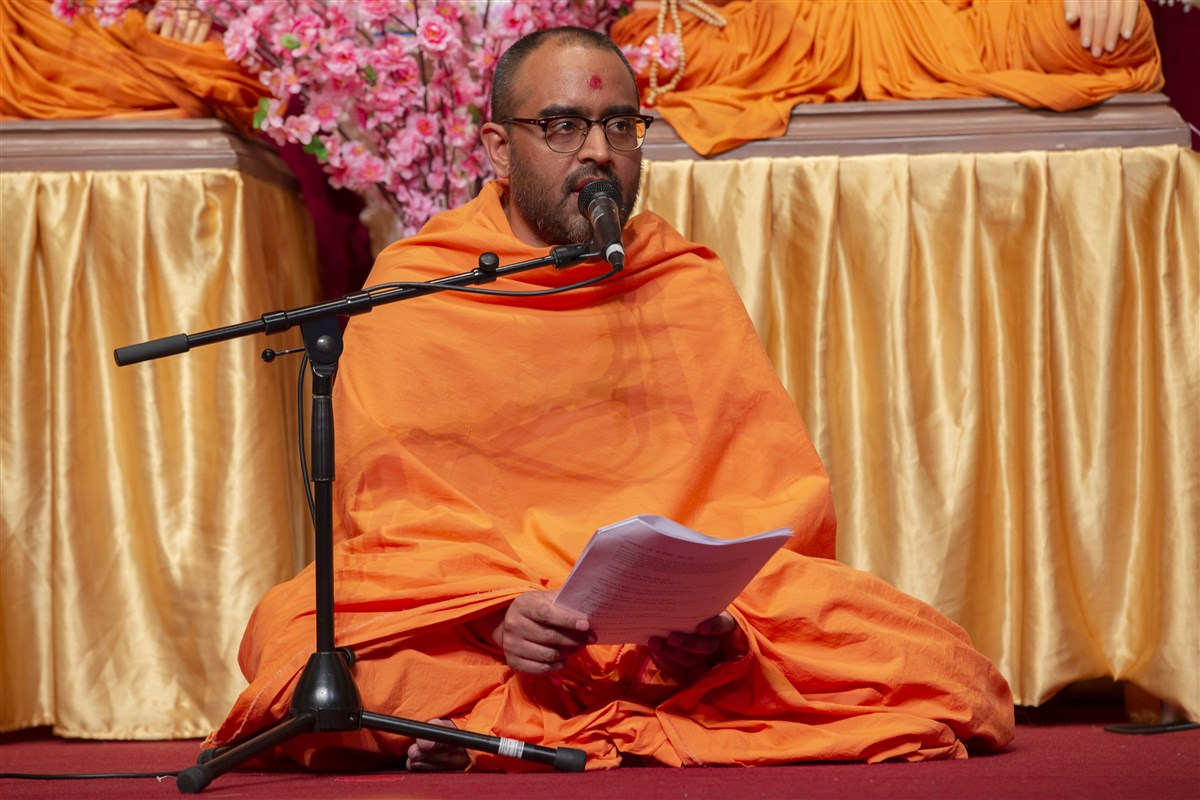 The kirtan narrative was interspersed with audio recordings of Pramukh Swami Maharaj, the mandir's creator and inspirer