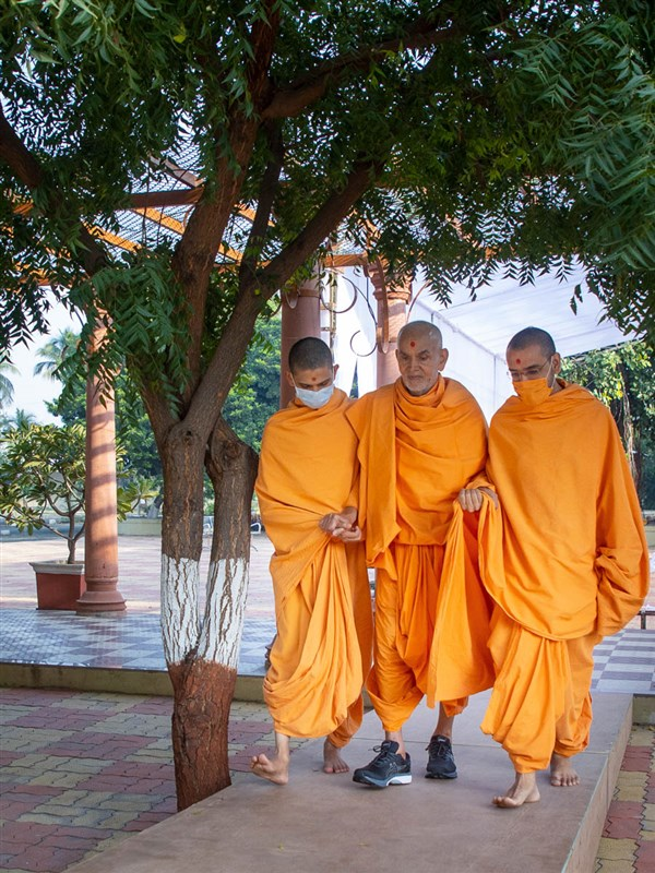 Swamishri after his morning walk