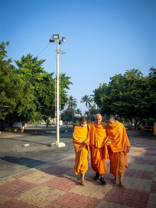 Swamishri during his walk in the morning