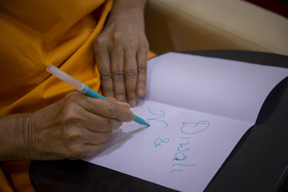 Swamishri designs Diwali and New Year cards