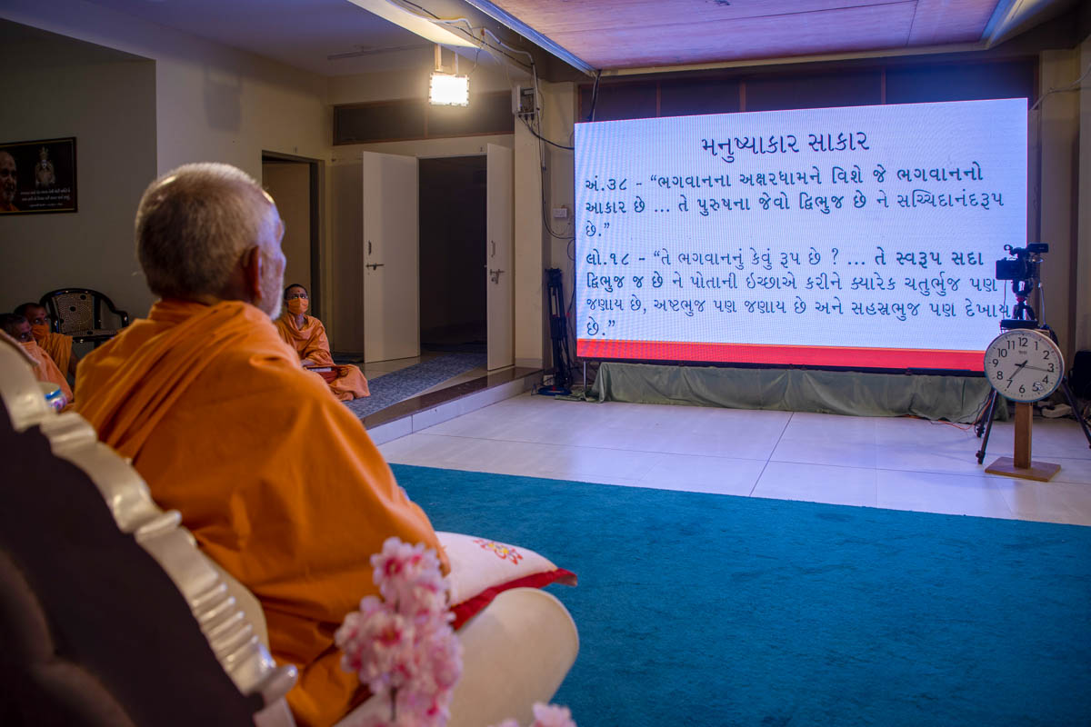 Swamishri during the evening satsang assembly