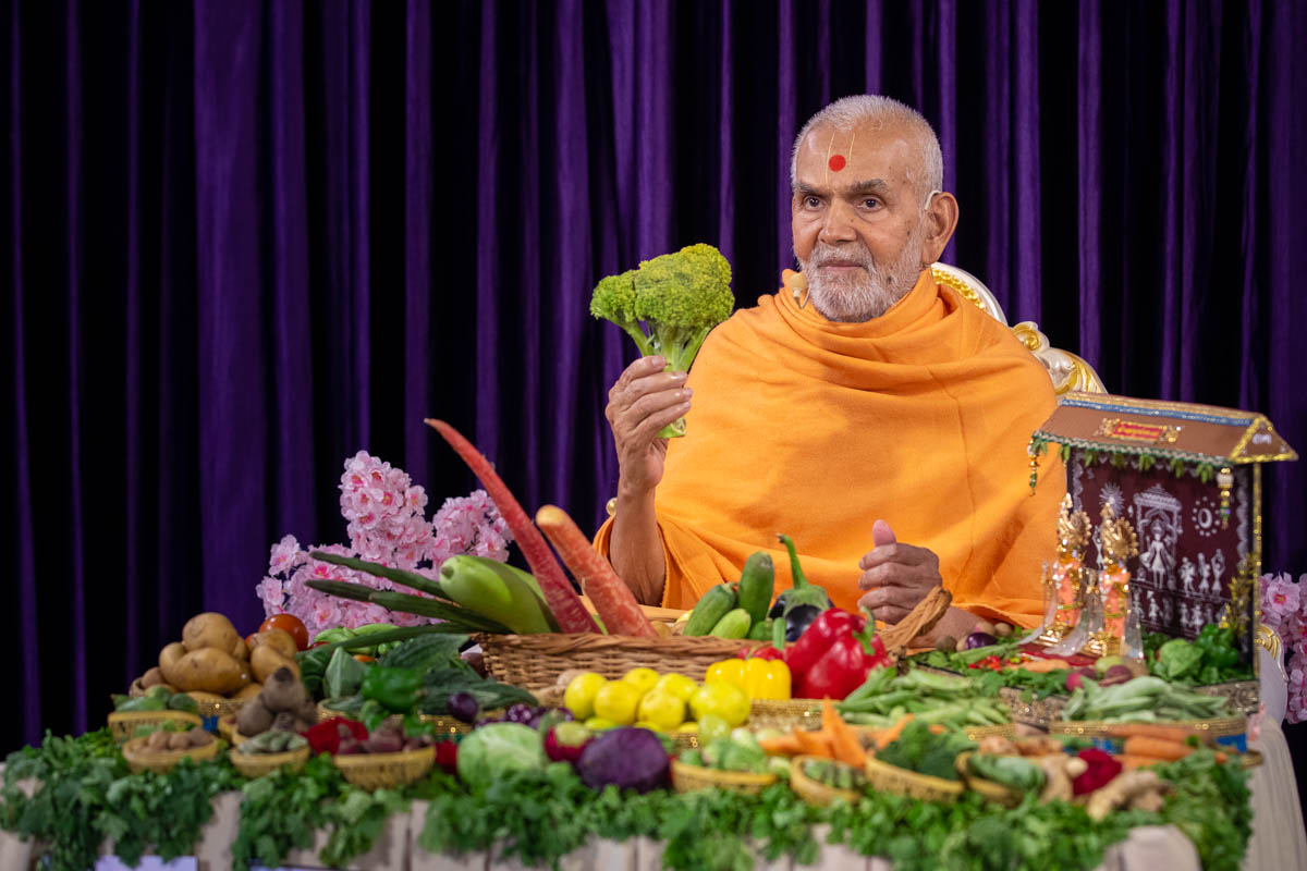 Swamishri sanctifies a shoot of broccoli